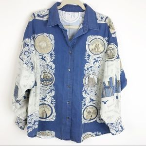 Tops - 90's Vintage New York Skyline Button Down Shirt